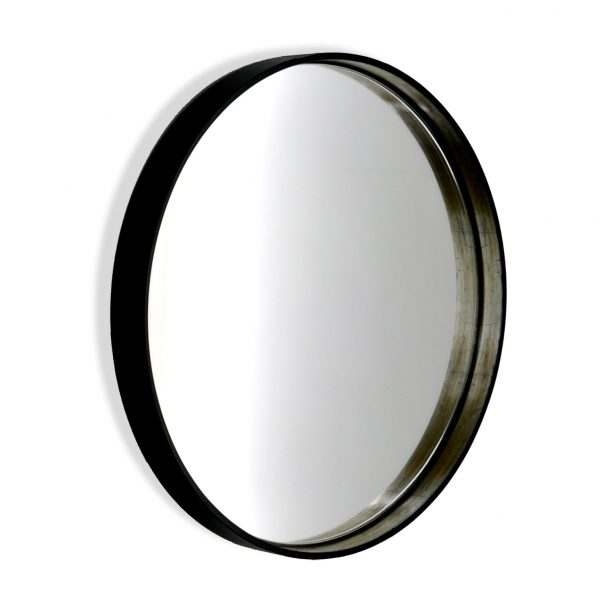 Mayfield Round Mirror - Polished Black with Antique Silver inner