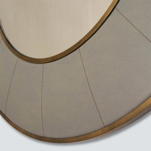 Hand stitched leather and brass mirror