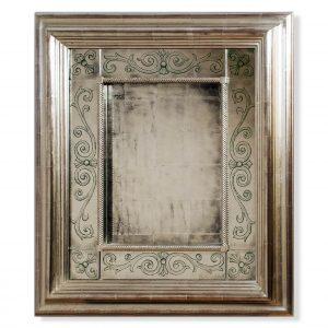 White Gold Leaf Eglomise Mirror