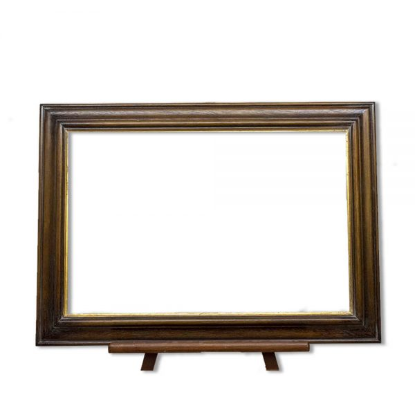Frame PW112 in stained timber with gold sight edge