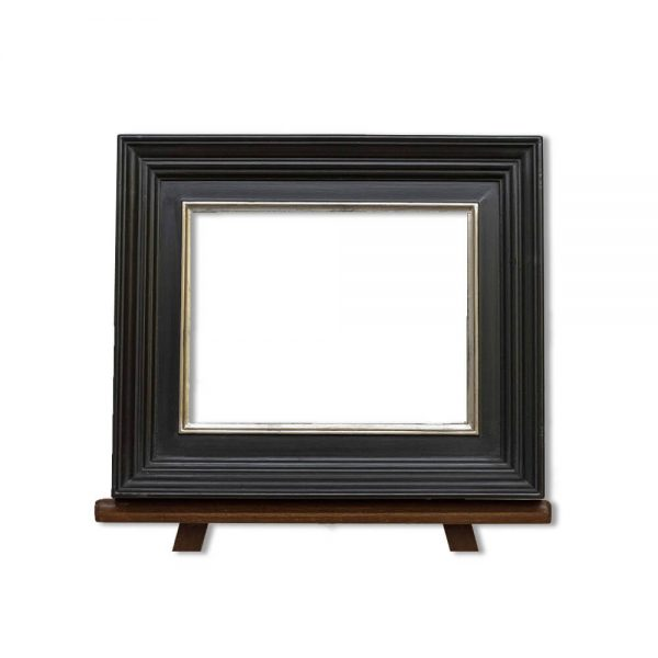 Frame PW7010AB finished in polished black with silver sight edge