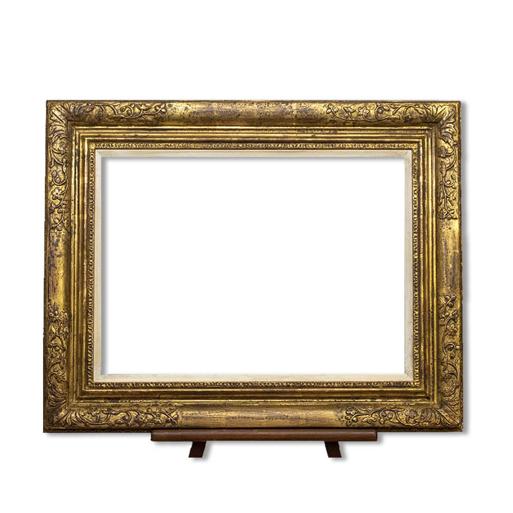 Gold leaf swept frame with aged gesso slip