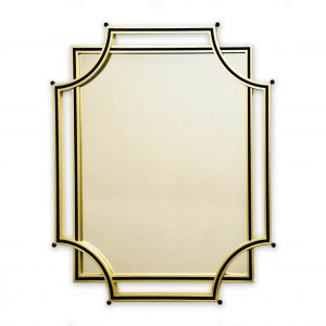 Decorative mirror frame in gold and black lacquer