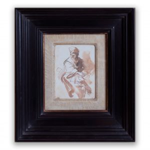 Ebonisded frame with cracked gesso mount