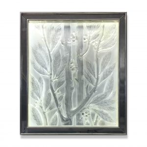 Lalique glass panel, backlit in Mirrored white gold leaf frame