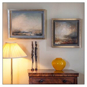 Mark Johnson panels in Moongold leaf tray frames