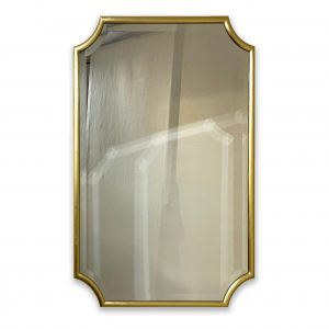 Scalloped Corner Mirror in Gold Hockey Frame