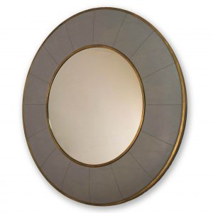 Leather wrapped round mirror